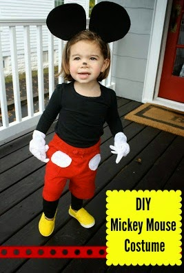 Toddler in mickey mouse costume