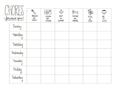 Printable Kids Chore Chart: A Guest Post