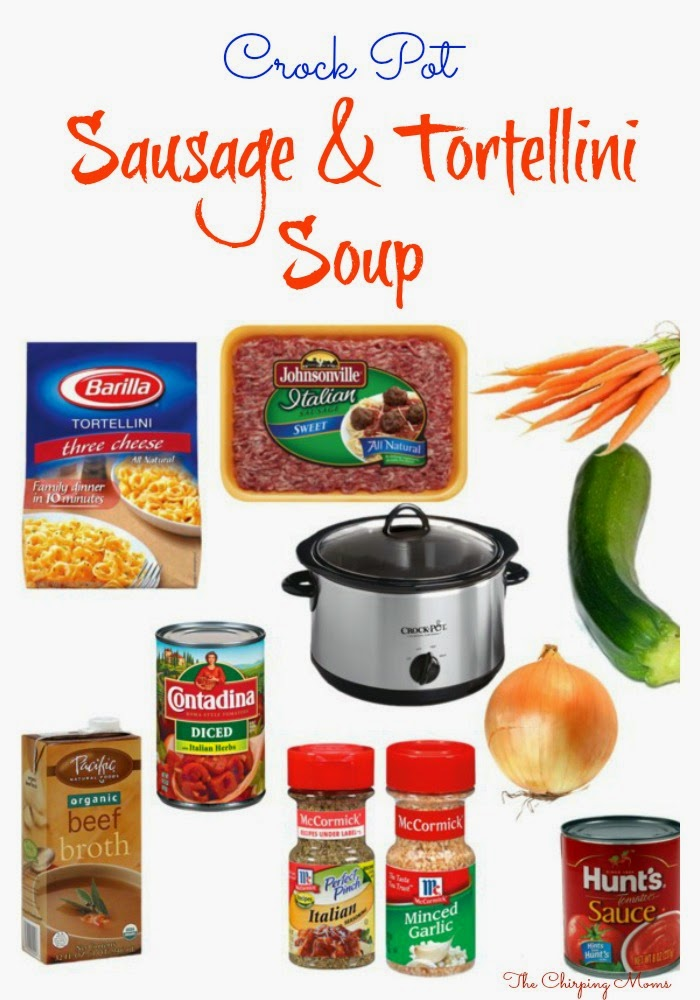 Crock Pot Sausage & Tortellini Soup || The Chirping Moms