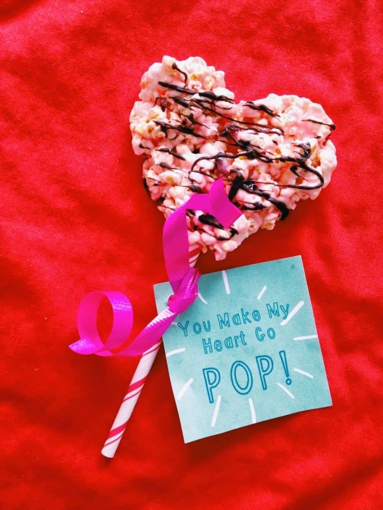 photograph regarding Popcorn Valentine Printable named Very simple Valentine Popcorn Snacks (with No cost Valentine Printable