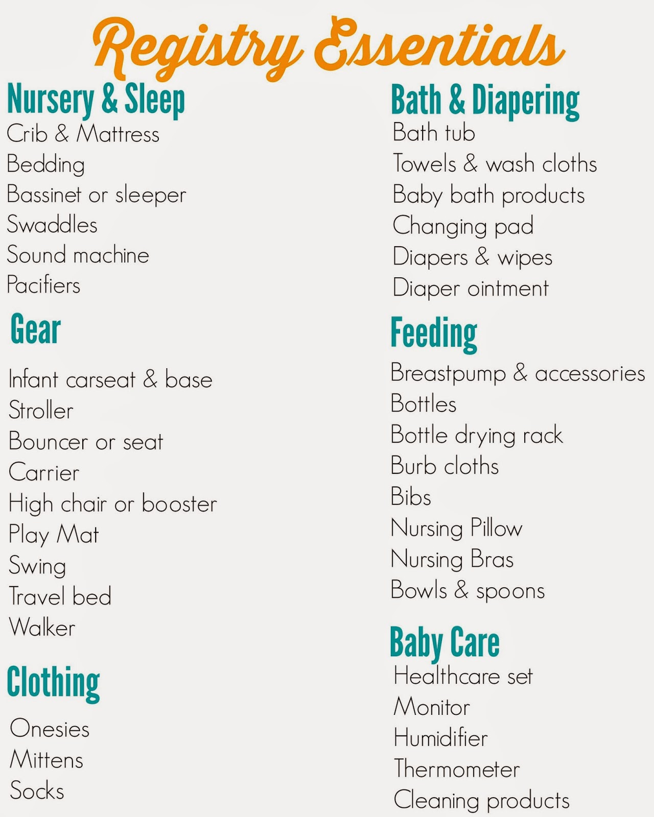 The Ultimate Registry Checklist - The Chirping Moms
