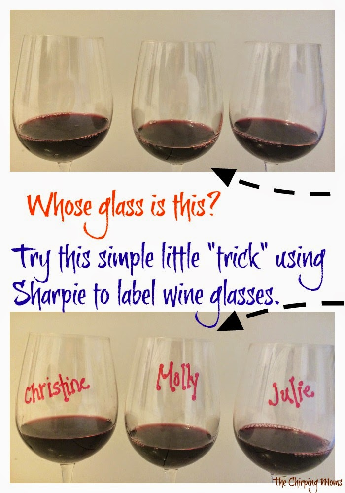 Label a Wine Glass with Sharpie & Remove It with Mr Clean Magic Eraser