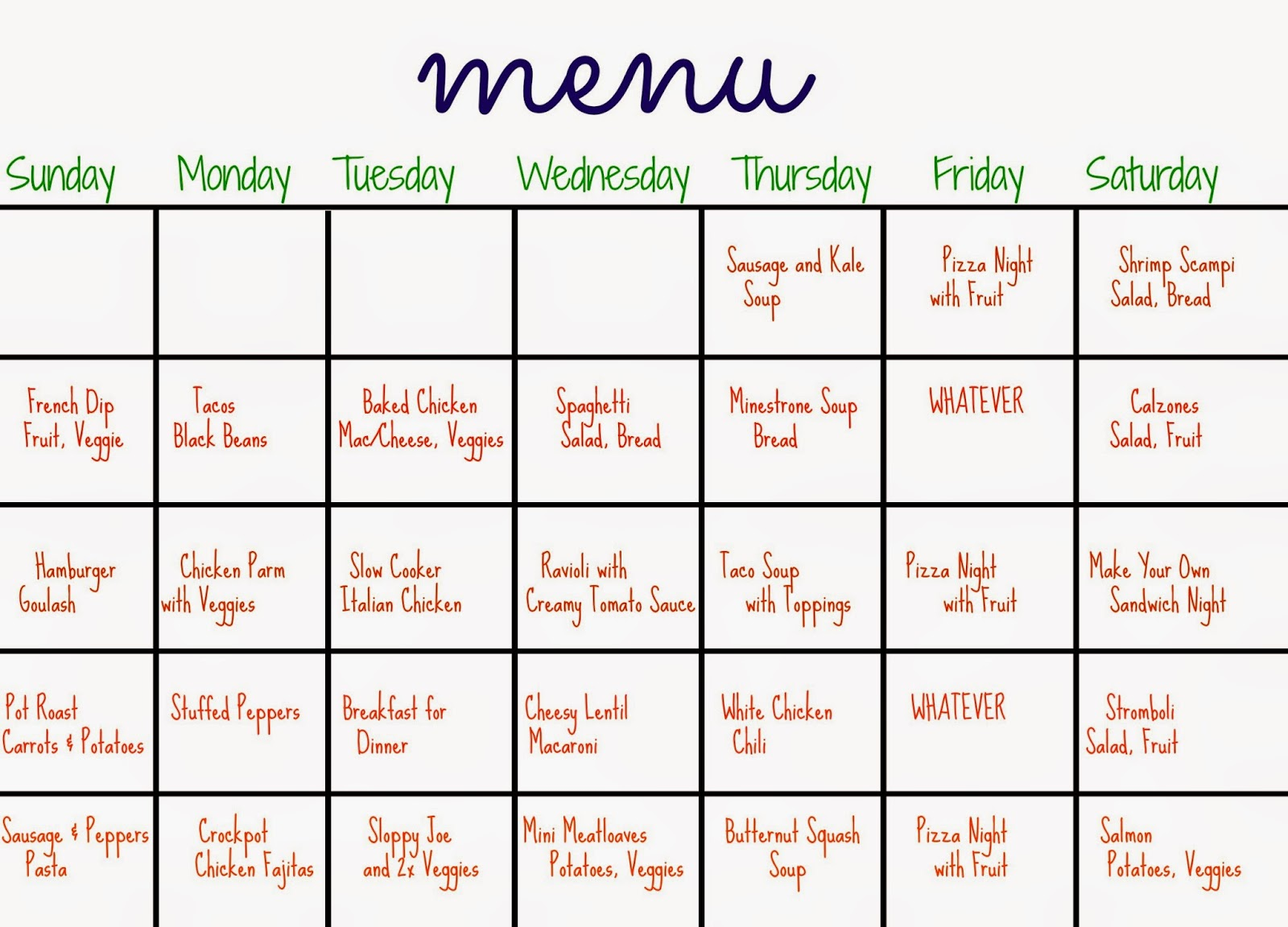 31 days of dinners: a menu plan for the whole month - the chirping moms