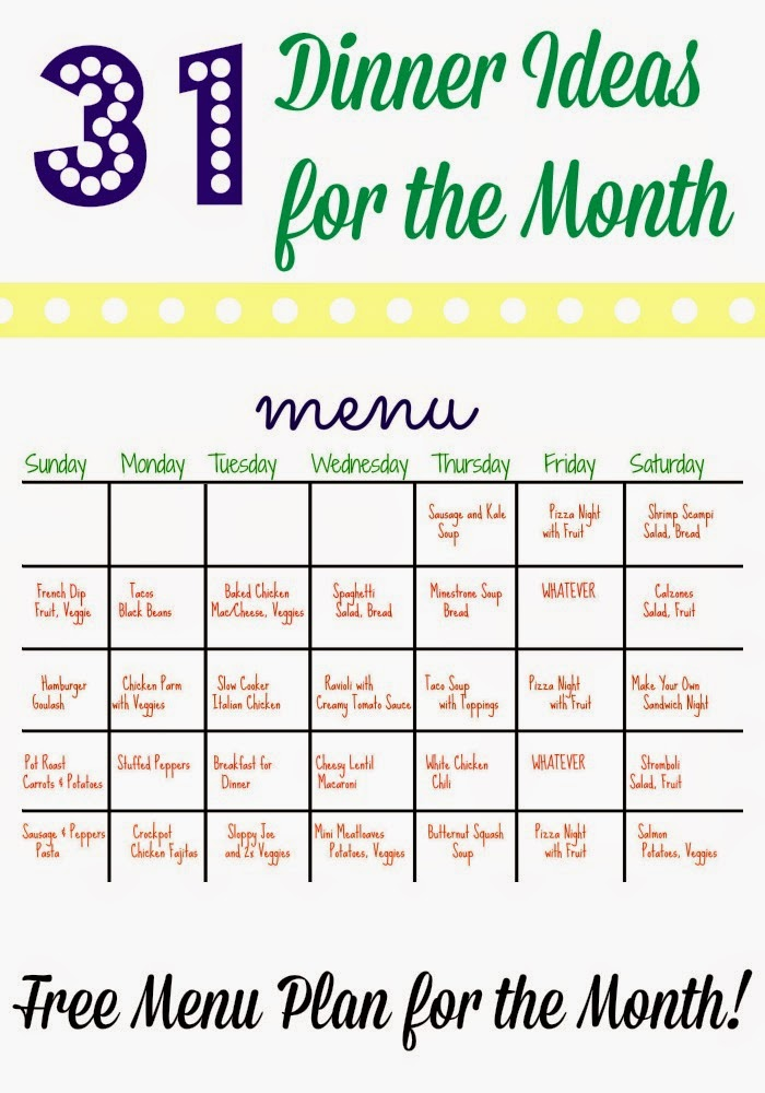 A Month of Dinners : The Chirping Moms