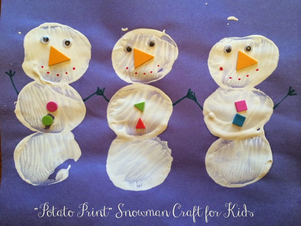Potato Print Snowman || The Chirping Moms