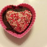 Chocolate Heart Cupcakes with Strawberry Frosting