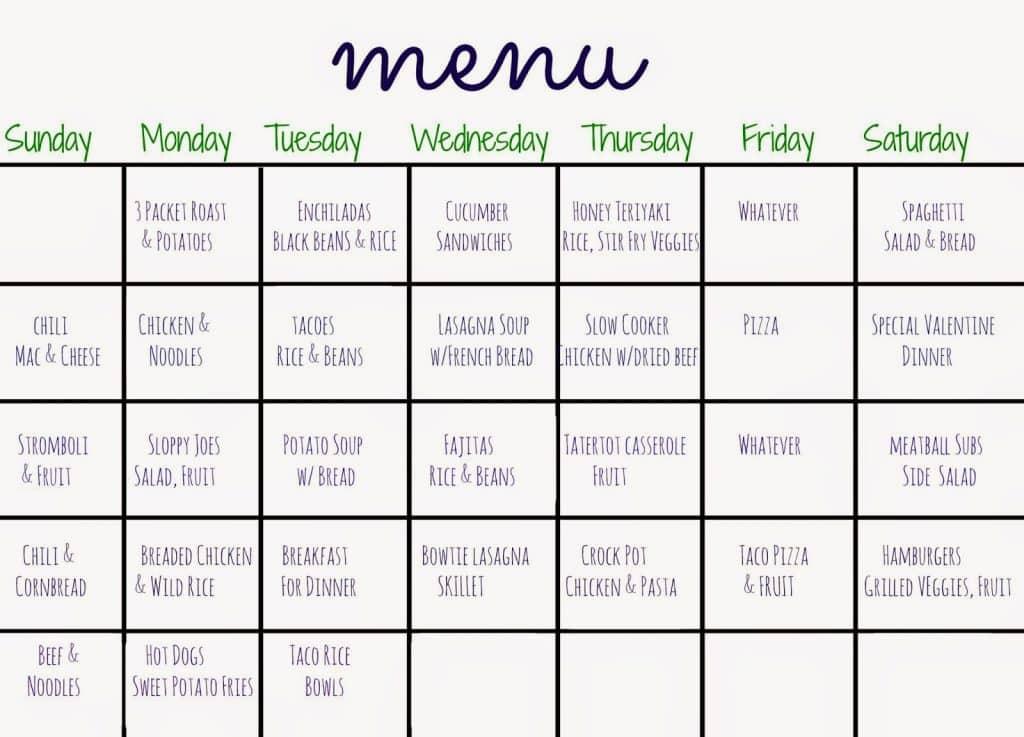 monthly menu plan the chirping moms