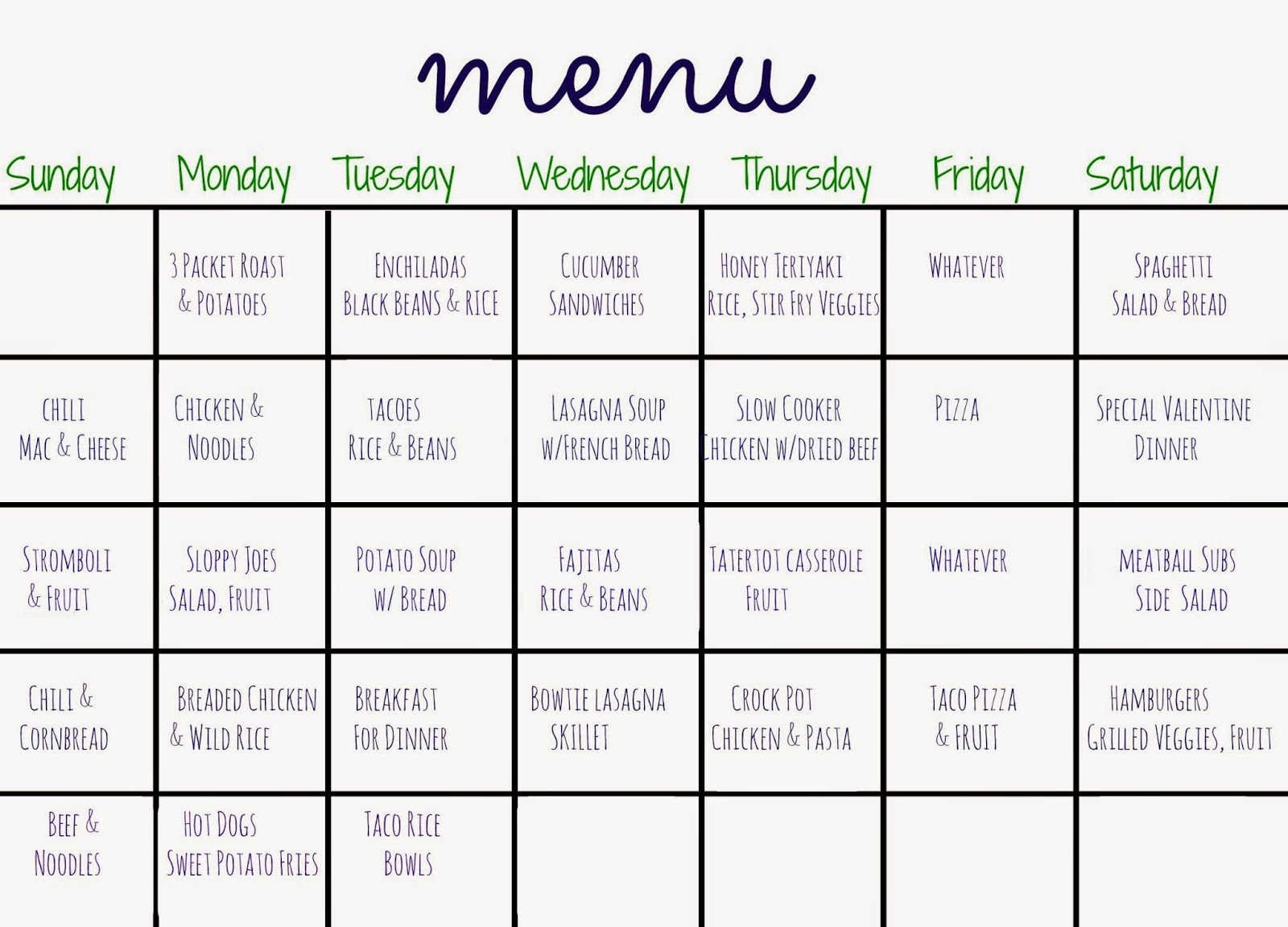 Birthday Calendar Ideas : Days of dinners another month meal planning the
