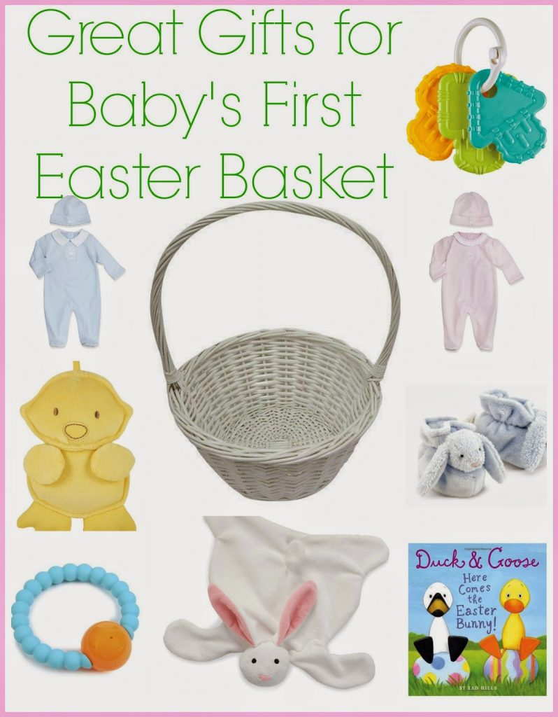 Great gifts for babys first easter the chirping moms here is a list of some fun ideas for making an easter basket for babys 1st easter negle Gallery