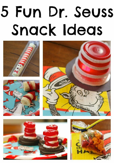 5 fun dr. seuss snacks like string cheese, jello, bananas and strawberries, cookies and candy, and goldfish.
