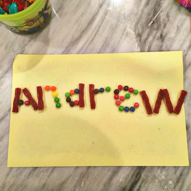 making names out of candy