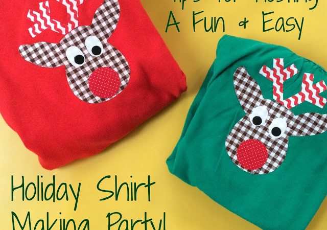 Kids Christmas Party Idea: Holiday Shirt Making Party
