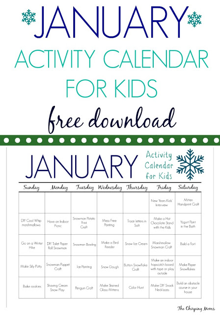 31 January Activities & Crafts for Kids (Free Activity Calendar) || The Chirping Moms