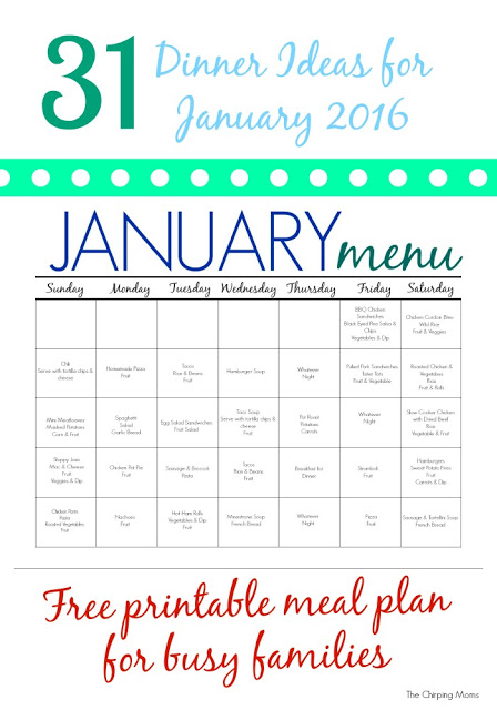 31 Days of Dinners: A Meal Plan for January (Free Printable) || The Chirping Moms