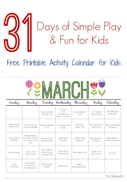 March Printable Activity Calendar for Kids || The Chirping Moms