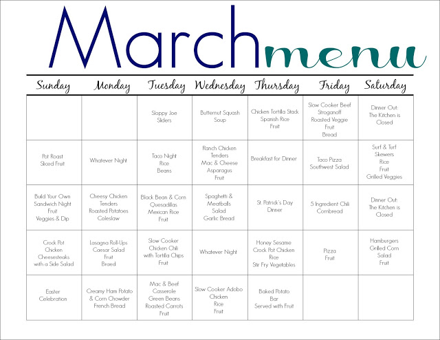 March Meal Plan For Families Free Printable  The Chirping Moms