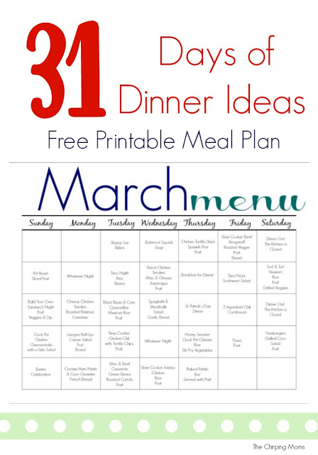 March Meal Plan for Families (Free Printable) || The Chirping Moms