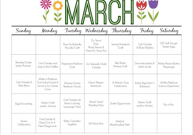 March Printable Activity Calendar for Kids