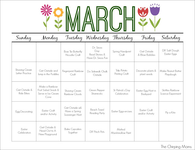 Calendar Ideas For March : March printable activity calendar for kids the chirping moms