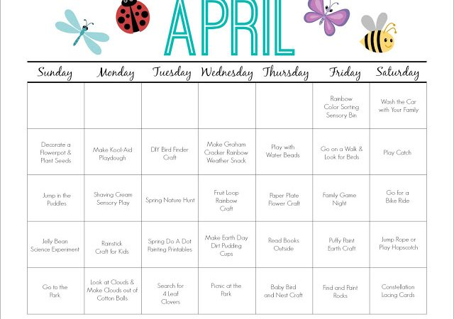 April Printable Activity Calendar for Kids