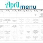 April Meal Plan for Families (Free Printable)