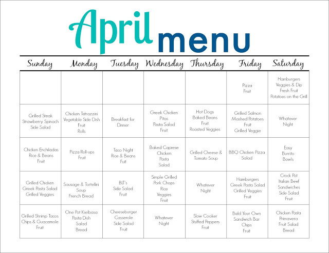 April Meal Plan for Families (Free Printable) || The Chirping Moms