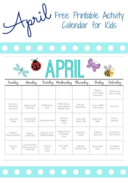 Calendar Kids April : Printable activity calendar for kids free from