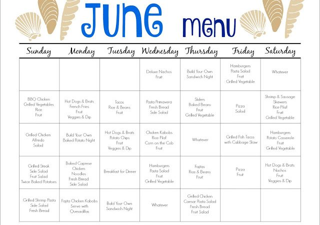 June Meal Plan for Families (& Free Printable)
