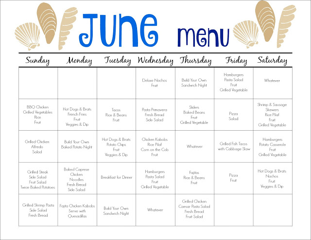June Meal Plan For Families  Free Printable  The Chirping Moms