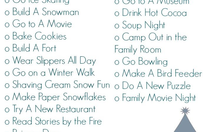 Winter Bucket List (Free Printable)