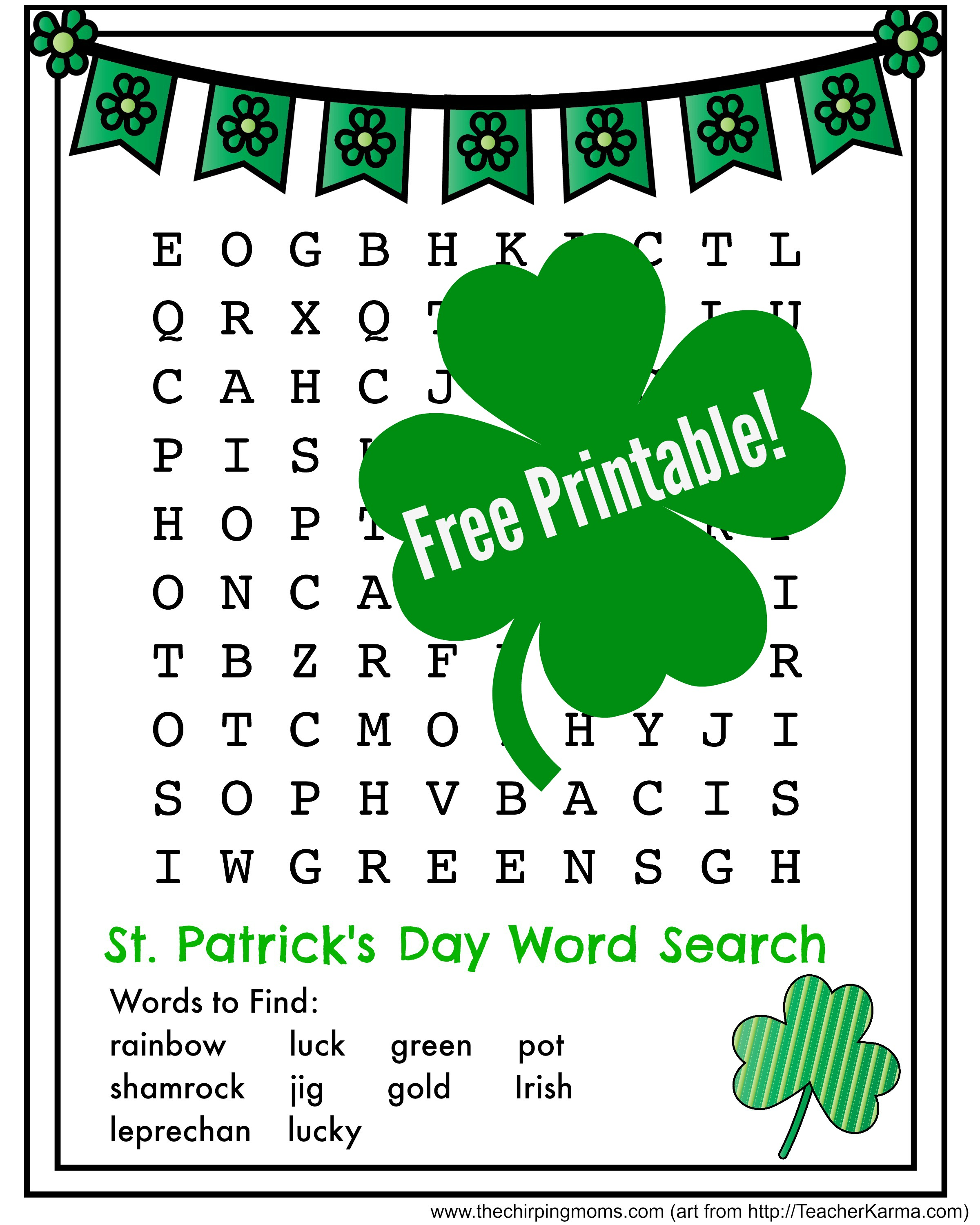 picture relating to St Patrick's Day Word Search Printable known as St. Patricks Working day Term Appear Pin - The Chirping Mothers