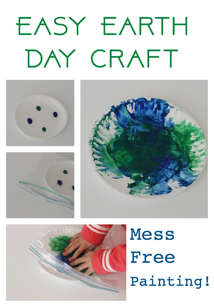 earth day mess free painting craft for kids
