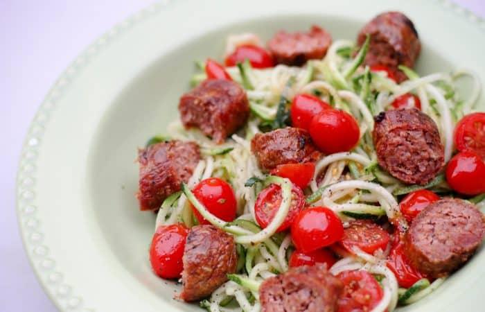 Easy 5 Ingredient Recipe: Sausage, Tomato & Zoodles