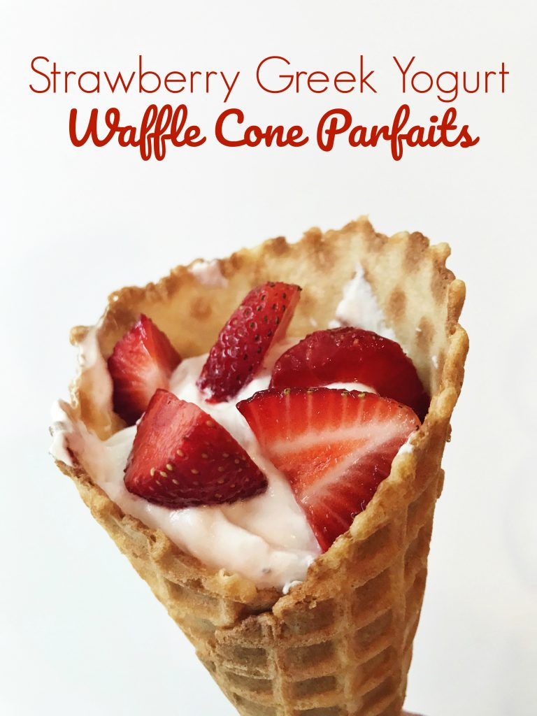 Strawberry Yogurt Waffle Cone Parfaits || The Chirping Moms