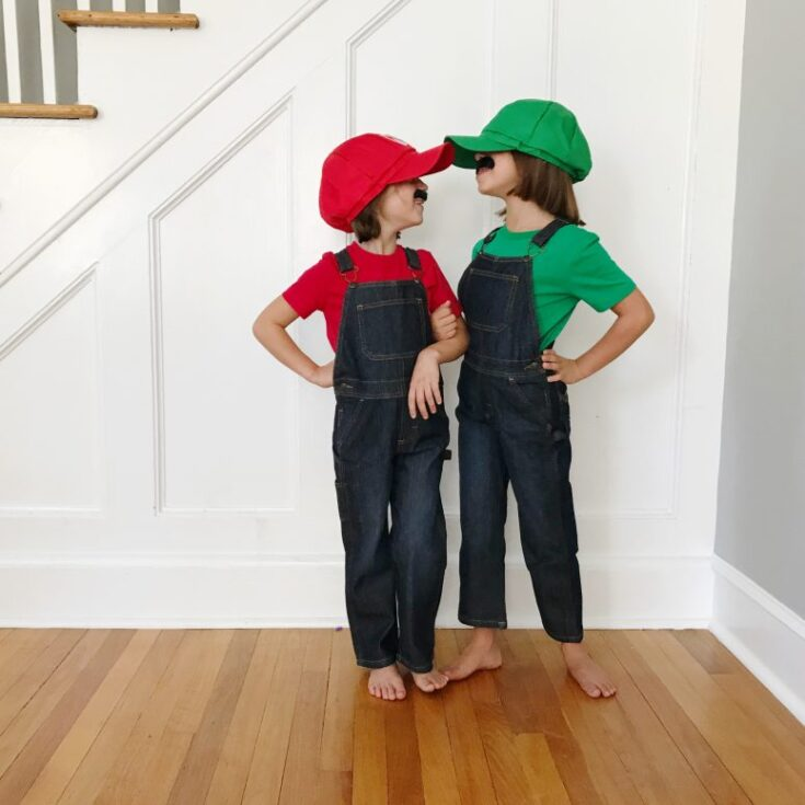 Easy Diy Kids Halloween Costumes Mario And Luigi
