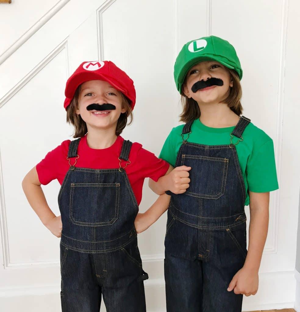 Easy Diy Kids Halloween Costumes Mario And Luigi