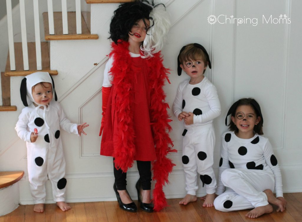 My original plan was to make one of the girls Cruella which we did and even got our real puppy Jersey in on the action. She might not be a dalmatian but ...  sc 1 st  The Chirping Moms & Easy DIY 101 Dalmatians Costumes for Kids u0026 Cruella for Mom
