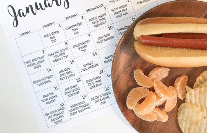 31 Days of Meal Ideas for Kids: January Kids Dinner Calendar