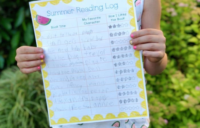 A Fun Summer Reading Log for Kids