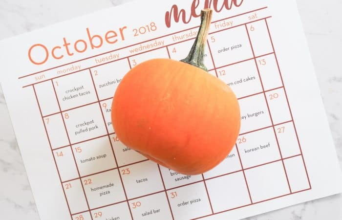 October Dinner Calendar: Another Month of Meal Planning