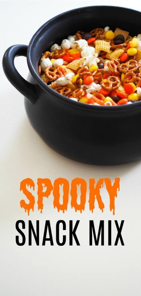 easy  Halloween snack mix in cauldron