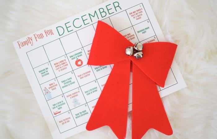 Free Printable December Family Calendar