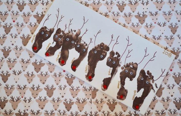 Christmas Footprint Craft: Santa's Eight Reindeer
