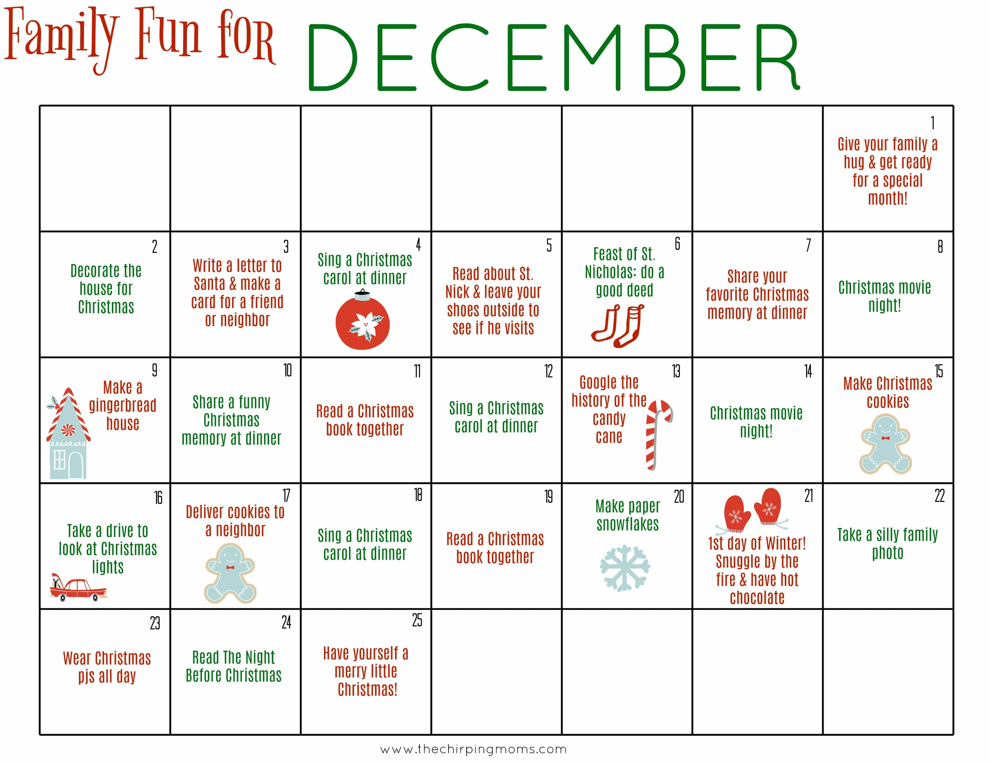 Click Here To And Print The December Family Calendar For Free