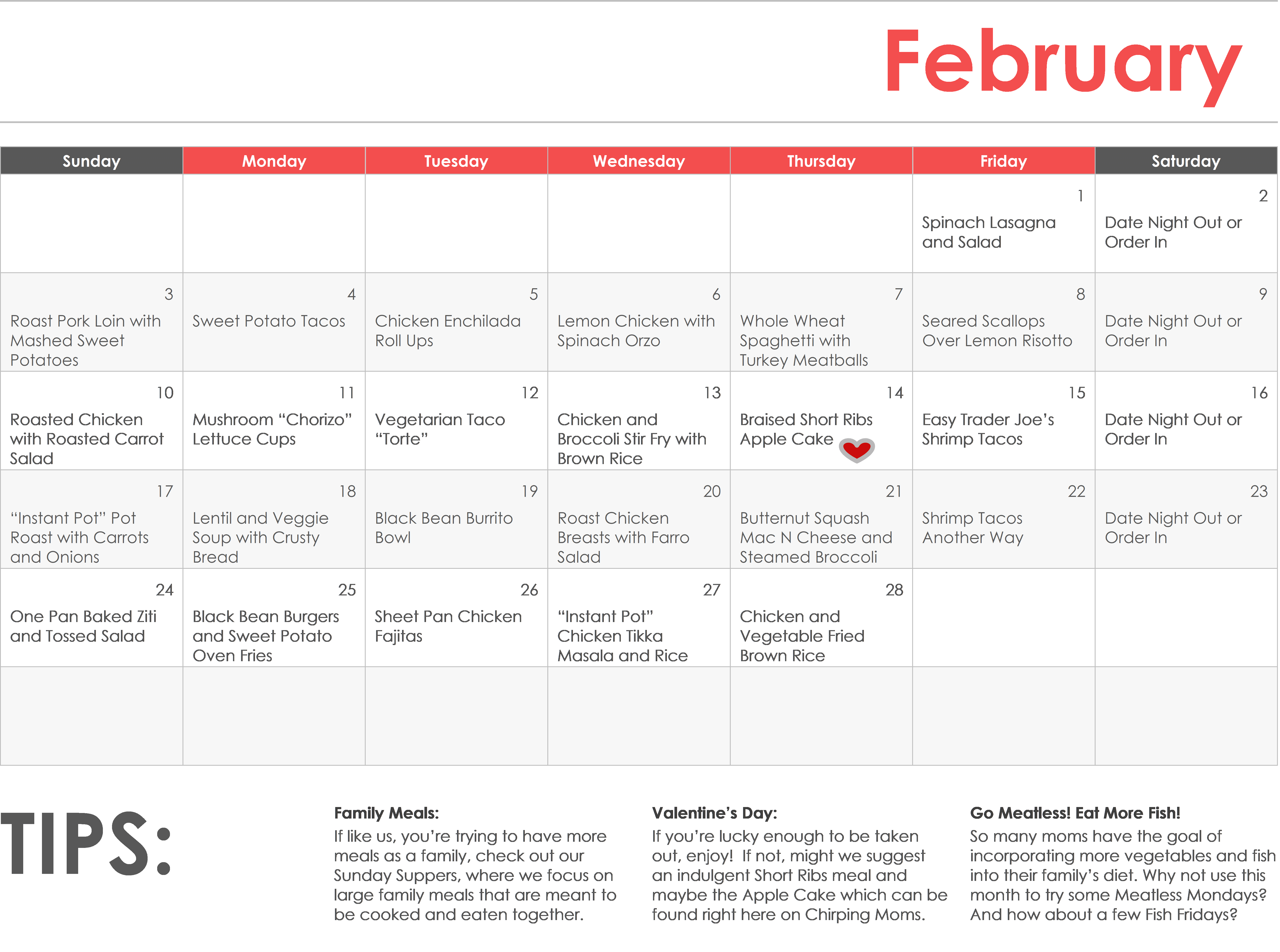 Monthly Meal Planning February Meal Calendar The Chirping Moms