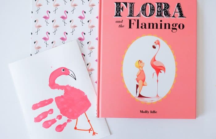 Flamingo Handprint with a Book & Snack Too!