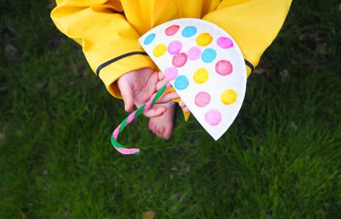 Rainy Day Paper Plate Umbrella Craft