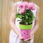 Easy Watermelon Craft: DIY Painted Watermelon Flower Pot