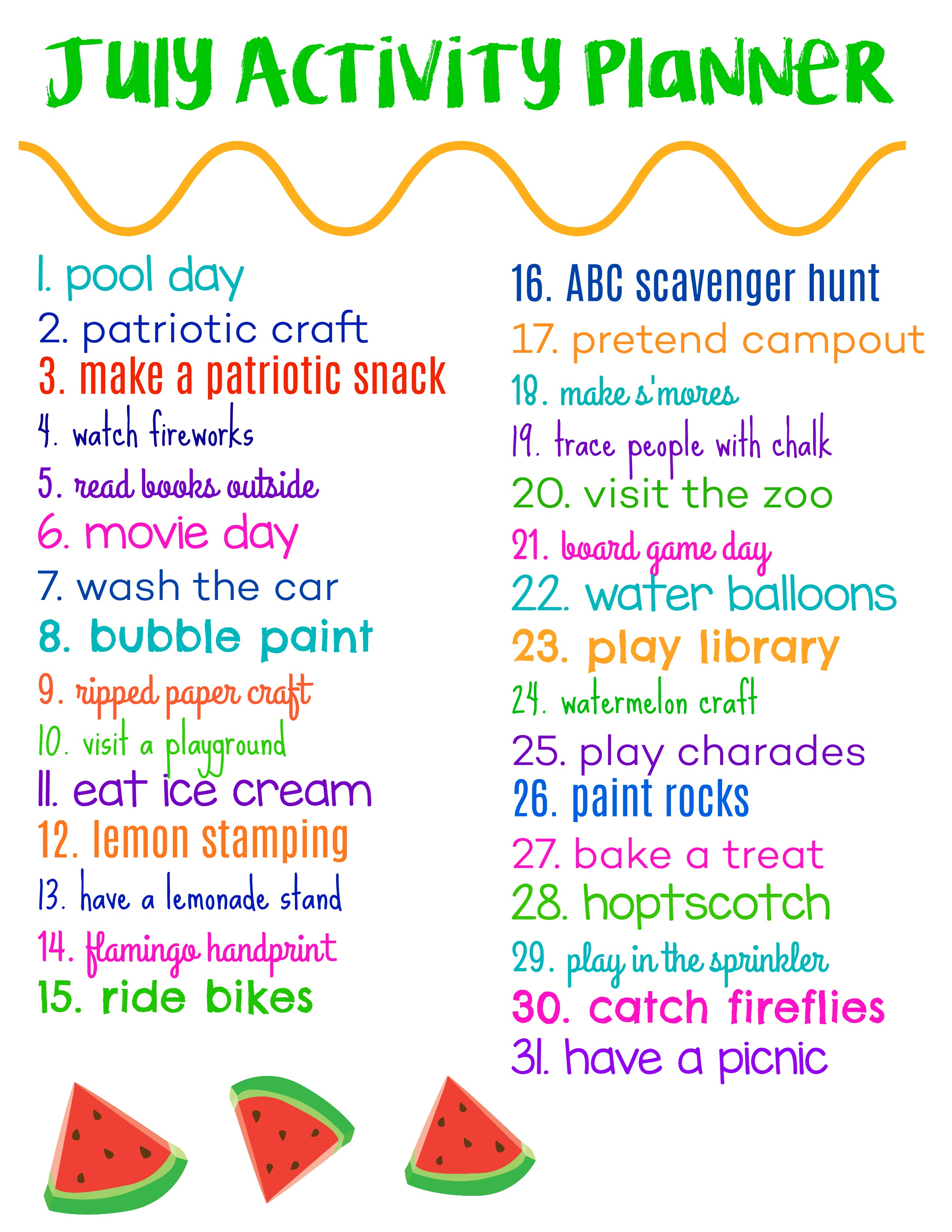 July Activity Planner for Kids (& Free Printable) - The