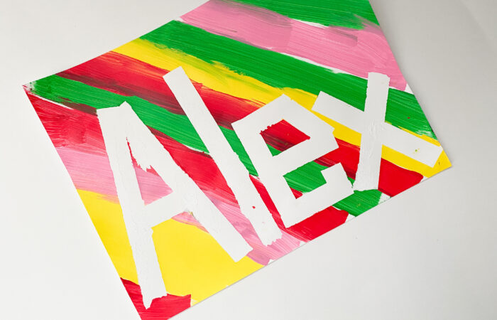 Easy Activity: Tape Resist Word Art